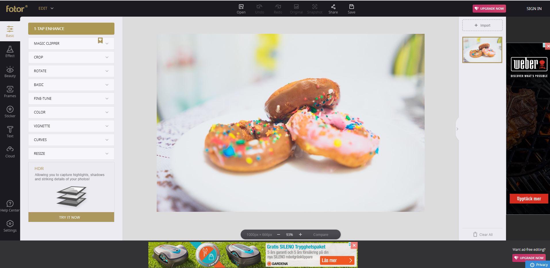 Bildbehandling på webben - Fotor