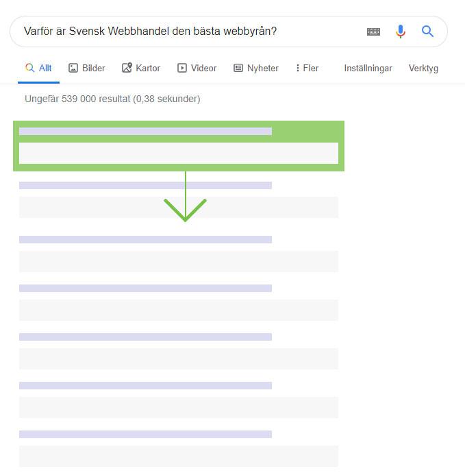 Rank brain exempel på träfflista i google