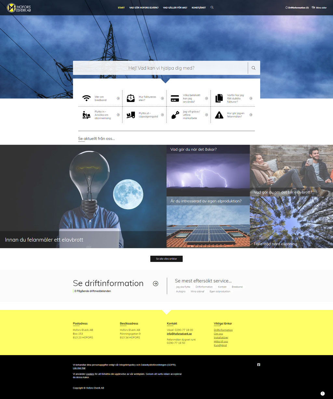 Hofors elverk startsida ny webbdesign 2019 sitevision